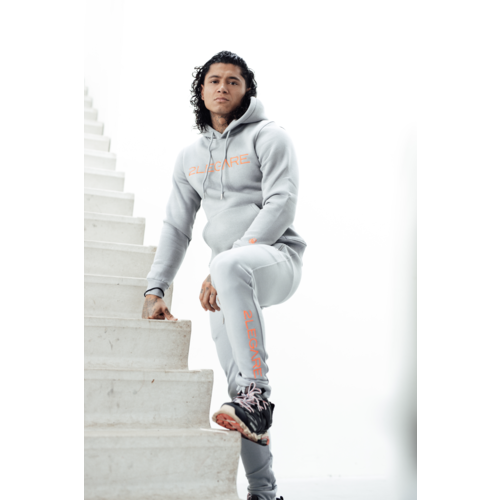 2LEGARE Logo Embroidery Tracksuit - Light Grey/Neon Pink
