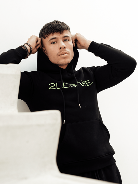 2LEGARE Embroidery Tracksuit - Black/Neon Yellow