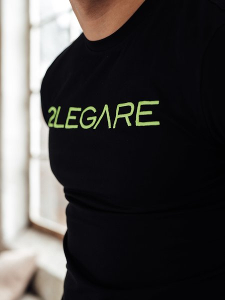 2LEGARE Logo Embroidery T-Shirt - Black/Neon Yellow