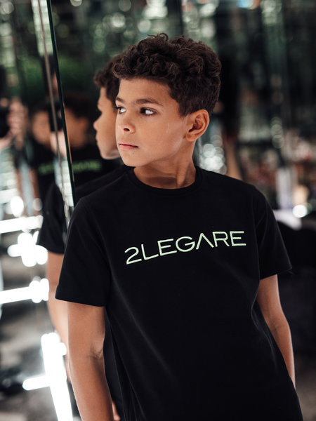 KIDS LOGO EMBROIDERY TEE - BLACK/NEON GREEN