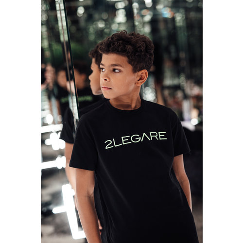 2LEGARE KIDS LOGO EMBROIDERY TEE - BLACK/NEON GREEN