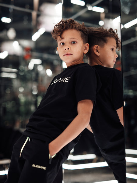 2LEGARE Kids Embroidery T-Shirt - Black/Neon Yellow
