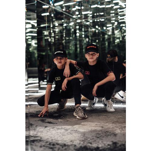2LEGARE KIDS BADGE TEE - BLACK/NEON GREEN