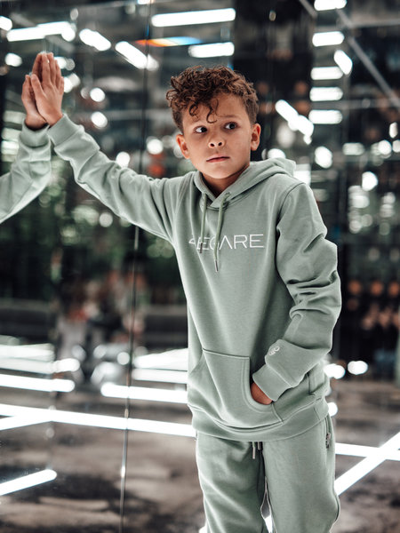 Kids Embroidery Hoodie - Light Army