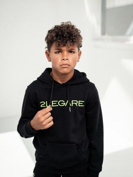 Kids Embroidery Hoodie - Black/Neon Green