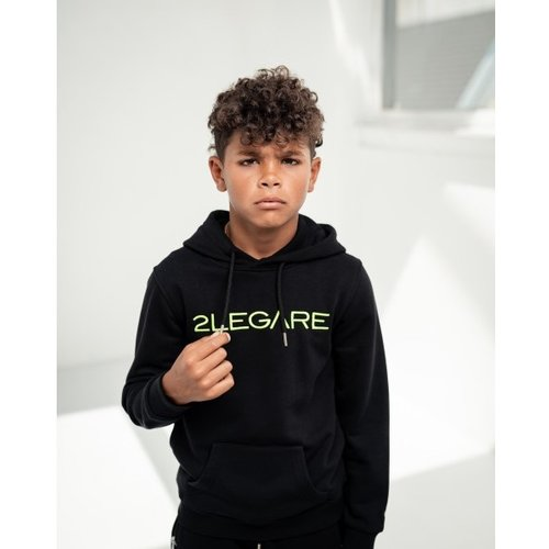 2LEGARE KIDS LOGO EMBROIDERY HOODIE - BLACK/GREEN