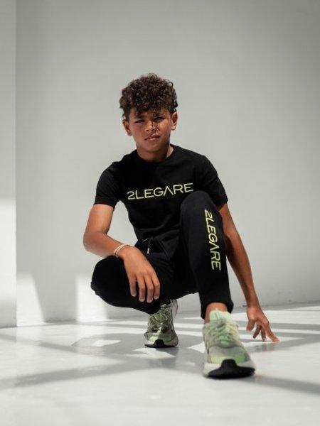 2LEGARE Kids Embroidery Jogger - Black/Neon Green