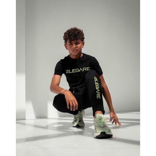 2LEGARE KIDS LOGO EMBROIDERY JOGGER - BLACK-GREEN
