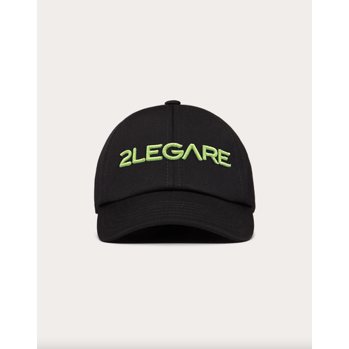 2LEGARE Logo Embroidery Cap - Black/Neon Yellow
