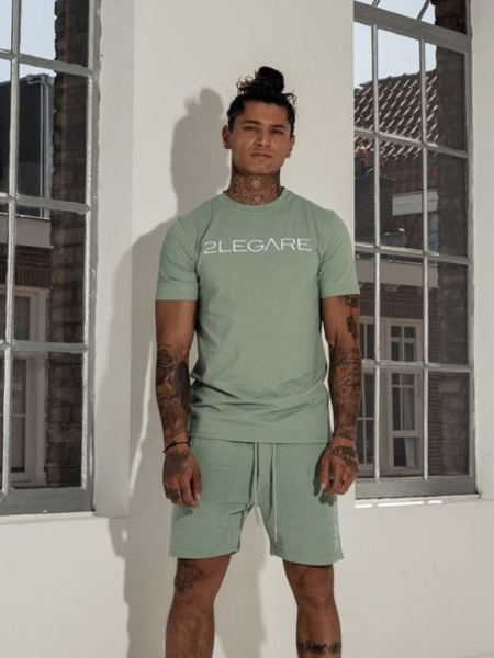 Embroidery Short - Light Army/White