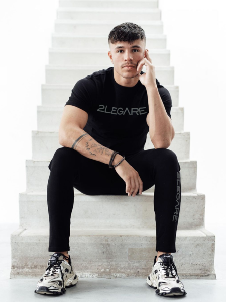 2LEGARE Logo Embroidery T-Shirt - Black/Antra