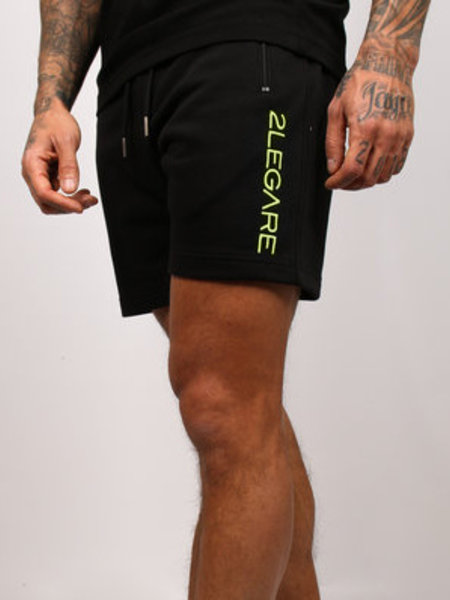Embroidery Short Black/Neon Yellow