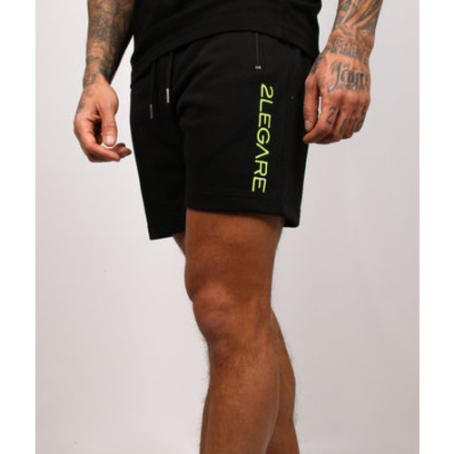 2LEGARE Embroidery Short Black/Neon Yellow
