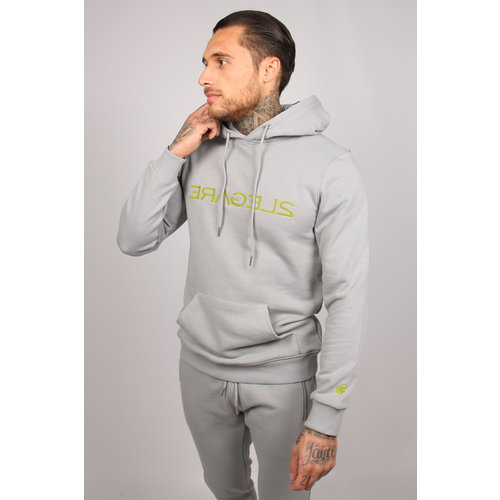 2LEGARE Logo Embroidery Hoodie - Light Grey/Neon Yellow
