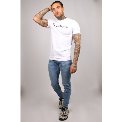 2LEGARE Logo Embroidery T-Shirt - White/Black