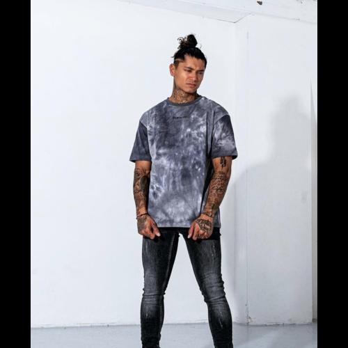 2LEGARE Oversized Tie Dye T-Shirt - Light Grey