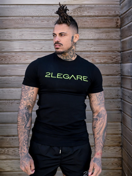 2LEGARE Logo Embroidery T-Shirt - Black/Neon Green