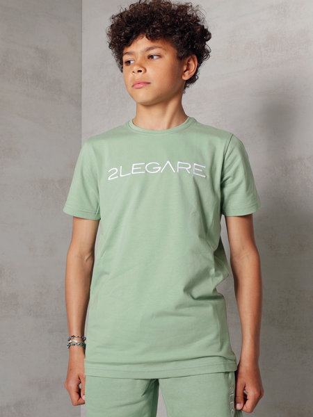 Kids Embroidery T-Shirt - Light Army