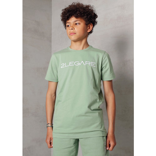 2LEGARE Kids Embroidery T-Shirt - Light Army