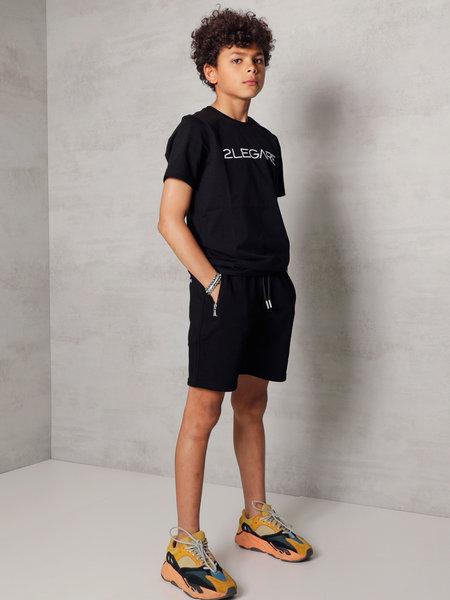 2LEGARE Kids Embroidery T-Shirt - Black/White