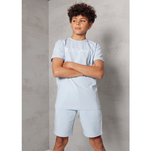 2LEGARE Kids Embroidery T-Shirt - Light Blue