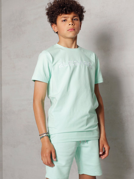 Kids Embroidery T-Shirt - Mint/White