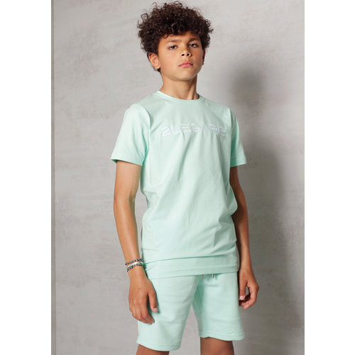 2LEGARE Kids Embroidery T-Shirt - Mint/White