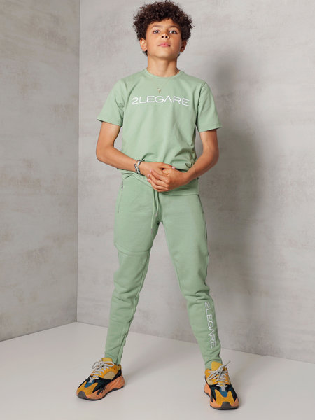 Kids Embroidery Jogger - Light Army