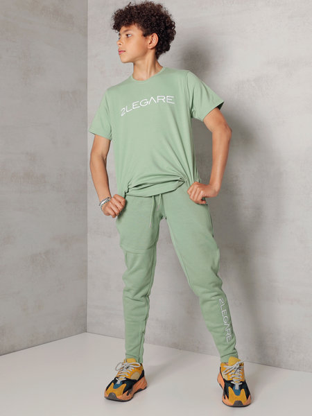 2LEGARE Kids Embroidery Jogger - Light Army