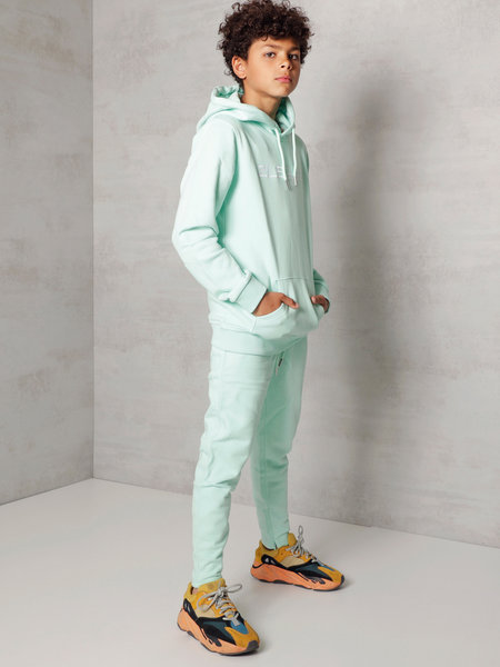 Kids Embroidery Jogger - Mint/White