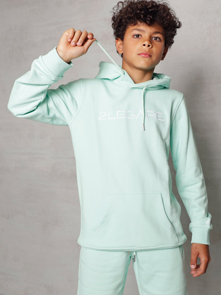Kids Embroidery Hoodie - Mint/White