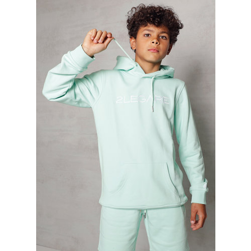 2LEGARE Kids Embroidery Hoodie - Mint/White