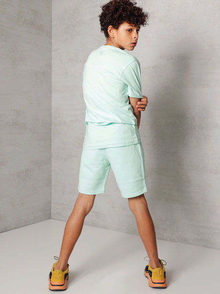 2LEGARE Kids Embroidery Short - Mint/White