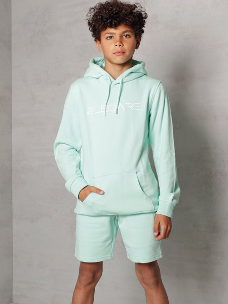 Kids Embroidery Short - Mint/White