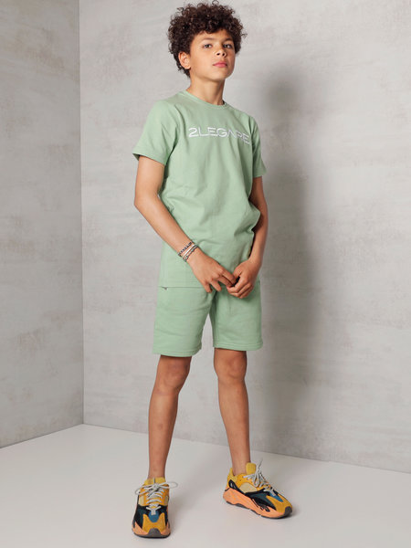 Kids Embroidery Short - Light Army/White