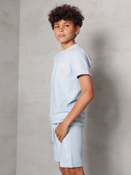 Kids Embroidery Short - Light Blue/White