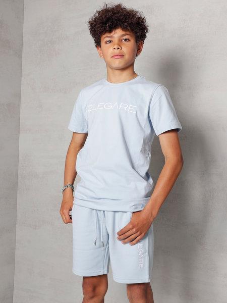 2LEGARE Kids Embroidery Short - Light Blue/White