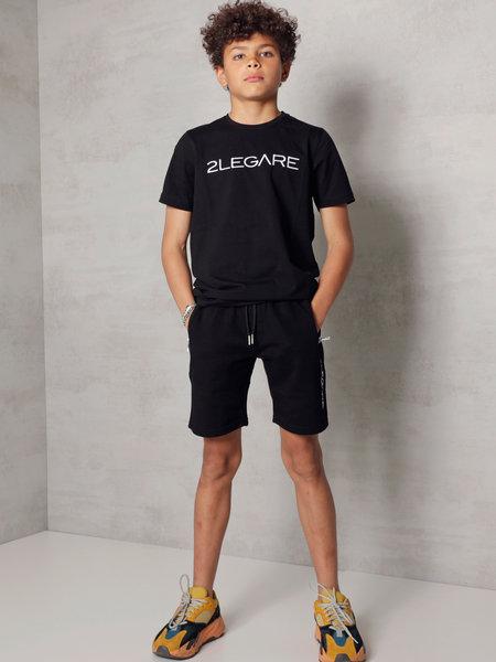 2LEGARE Kids Embroidery Short - Black/White
