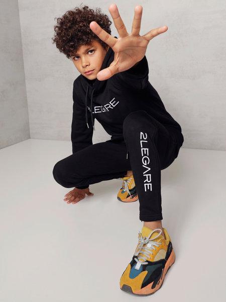 2LEGARE Kids Embroidery Jogger - Black/White