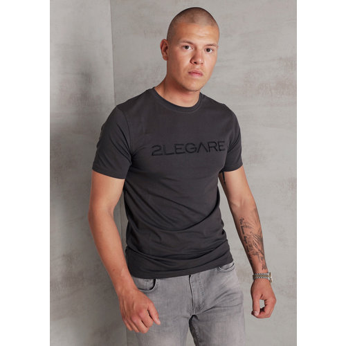 2LEGARE Embroidery T-Shirt - Antra/Black