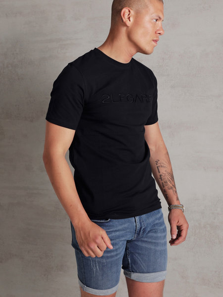 2LEGARE Embroidery T-Shirt - Navy/Black