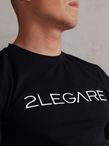 2LEGARE Embroidery T-Shirt - Navy/White