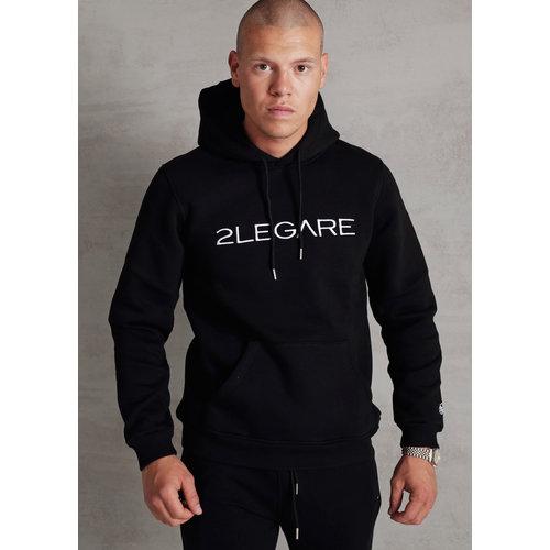 2LEGARE Logo Embroidery Hoodie - Black/White
