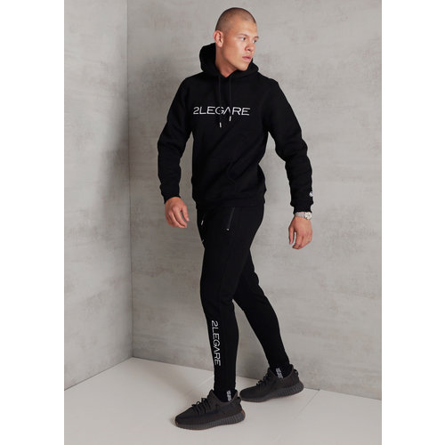 2LEGARE Embroidery Tracksuit - Black/White