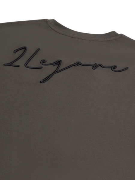 2LEGARE Embroidery Signature T-Shirt - Green/Black