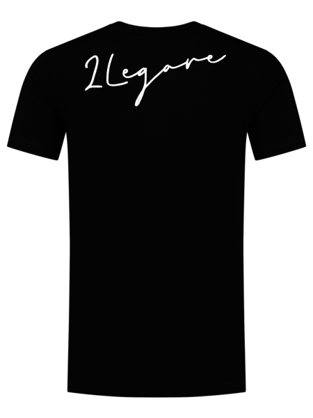 2LEGARE Embroidery Signature T-Shirt - Zwart/Wit