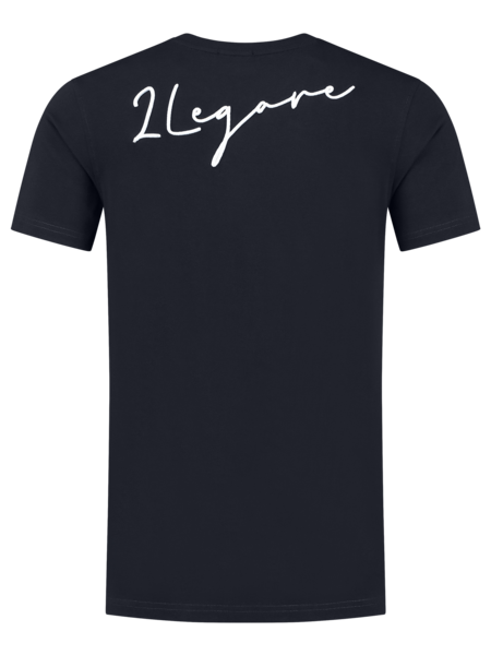 2LEGARE Embroidery Signature T-Shirt - Navy/White