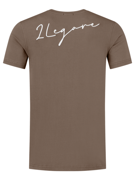 2LEGARE Embroidery Signature T-Shirt - Taupe/Wit