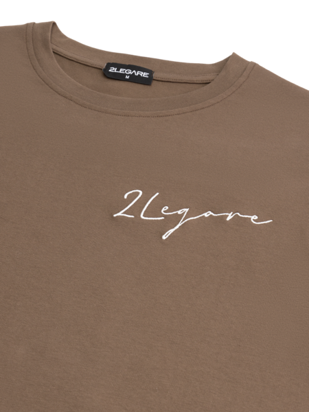 2LEGARE Embroidery Signature T-Shirt - Taupe/White