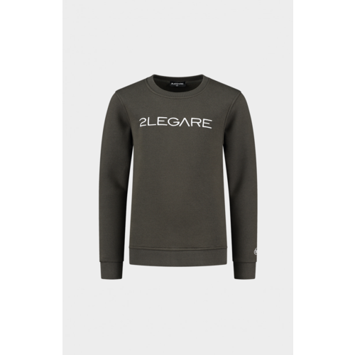 2LEGARE Kids Embroidery Sweater - Army/White